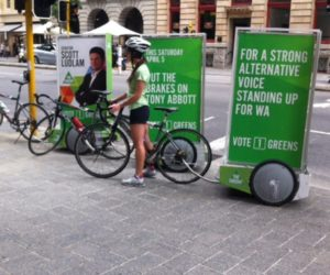 Street Promotions Enviro Cycle Ad Pods Vote Green